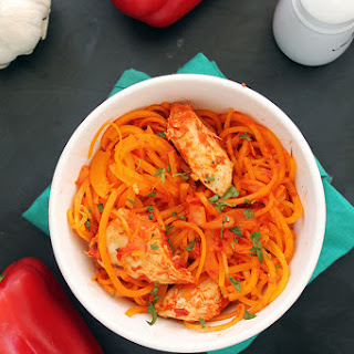 Roasted Red Pepper Butternut Squash Pasta with Chicken.