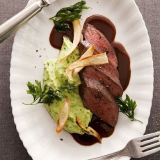 Herbed Pomme Puree with Game Steaks.