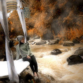 Girl at A River by Rony Nofrianto - Digital Art People ( woman & river, girl & river, waterscapes, edge of river, river )