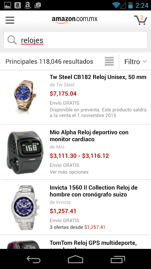 Amazon compras: captura de pantalla