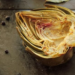 Baked Artichokes with Mandarin Orange, Juniper Berries, Clove, and Whole Grain Mustard