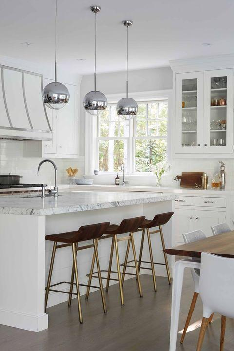 Furniture, White, Room, Kitchen, Countertop, Interior design, Property, Table, Floor, Dining room,