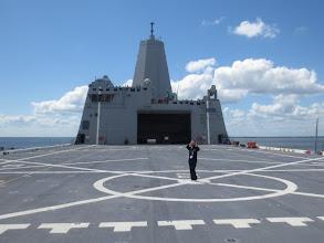 """Photo: Here I am up on the USS Arlington Flight Deck. I realized I really enjoyed saying """"flight deck"""" :)"""