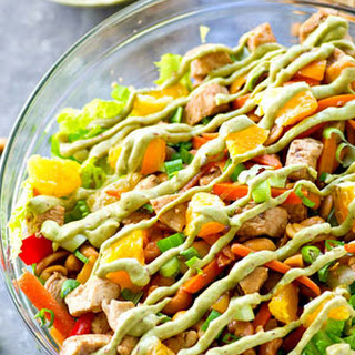 Cashew Chicken Salad with Chipotle Avocado Dressing.
