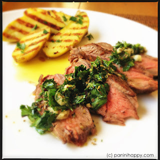 Grilled Flat Iron Steak with Chimichurri and Fingerling Potatoes.