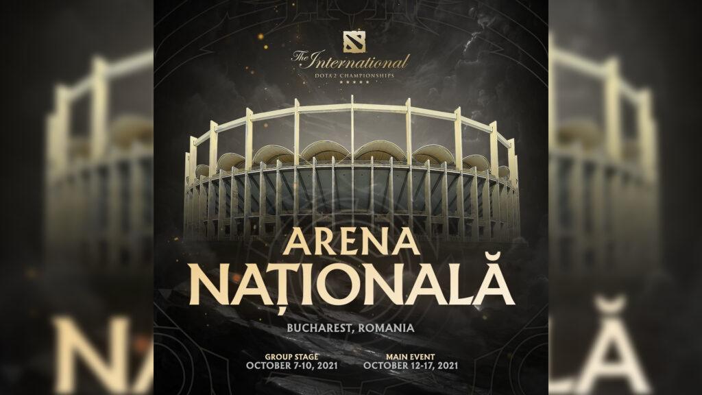 Dota 2 The International Arena Nationala Poster with the tournament dates