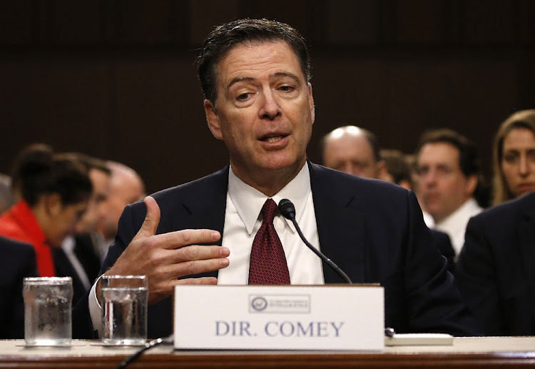 Former FBI director James Comey testifies before a Senate Intelligence Committee hearing on Russia's alleged interference in the 2016 US presidential election on Capitol Hill in Washington, the US, on Thursday. Picture: REUTERS