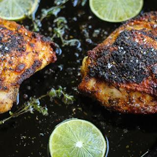 Pan Roasted Jerk Chicken Thighs.