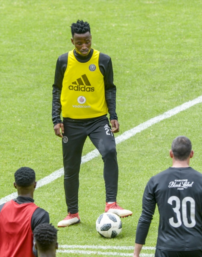 Thamsanqa Sangweni of Orlando Pirates during the Orlando Pirates Media Open Day at Rand Stadium on February 26, 2018 in Johannesburg, South Africa.