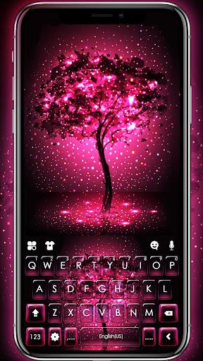 Neon Pink Galaxy Keyboard Theme screenshot 1