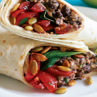 Smokey Black Bean & Cheddar Burrito with Baby Spinach.
