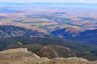 Photo: Pony , MT from the summit - Bridger Range on horizon. You drive through Pony to access the east-side route. We chose the west-side route via the Boulder River Road.