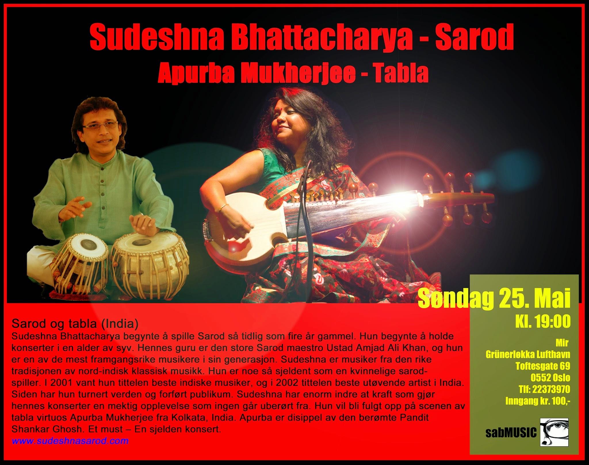 Photo: Sudeshna Bhattacharya - Sarod - Mir, Oslo 25. May 2014 - sabART