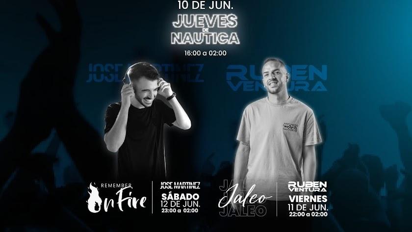 Cartel anunciador del intenso fin de semana en Náutica Music Club.