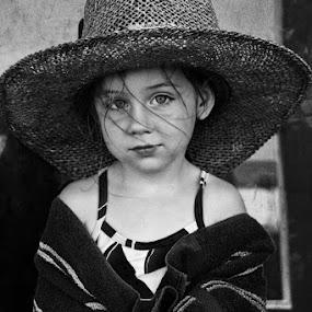 Lil Farmer by Jill French - Babies & Children Children Candids ( girl, children, beach, kid, hat, , black and white, b&w, child, portrait )