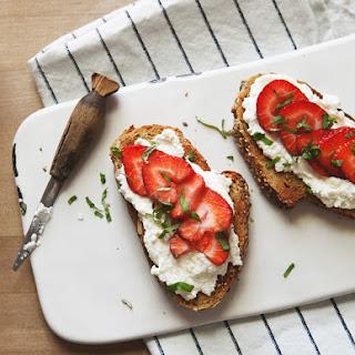 Strawberry Basil + Ricotta Breakfast Tartine.