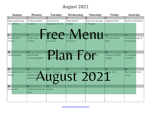 August 2021 Menu Plan – Get an A+ in the Kitchen!