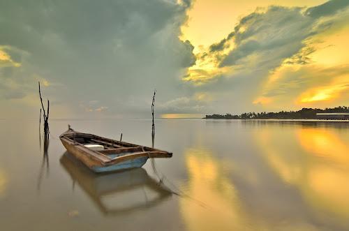 The Last Boat by Irwansyah St - Landscapes Weather ( sunset, pwcstorm, transportation, sunrise, landscape )
