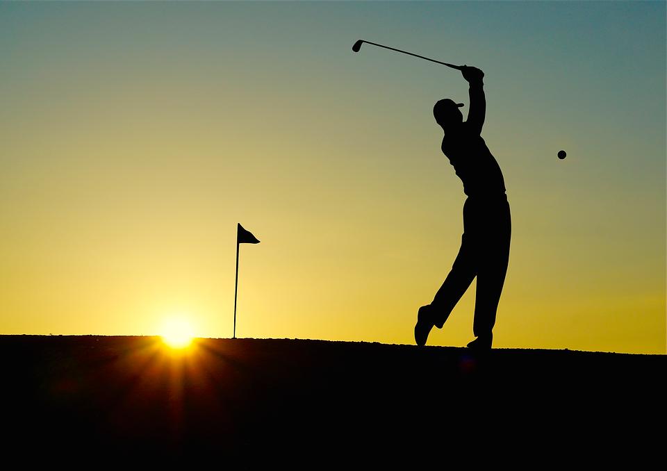 Golf, Sunset, Sport, Golfer,