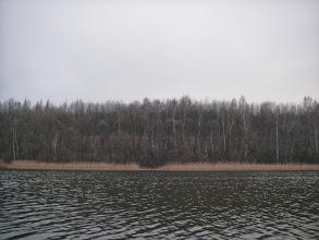 Photo: wcześniejszy paletowy pomost na drugim brzegu