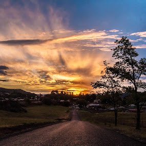 Lithgow Sunset by Carley Reed - Landscapes Sunsets & Sunrises ( clouds, nature, sunset, australia, trees, road )