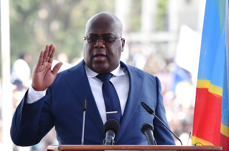 Democratic Republic of Congo's Felix Tshisekedi swears into office during an inauguration ceremony as the new president of the Democratic Republic of Congo at the Palais de la Nation in Kinshasa, Democratic Republic of Congo January 24, 2019. REUTERS / OLIVIA ACLAND