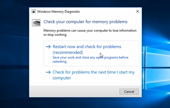 """Click on """"Restart now and check for problems"""" to start a memory scan. Then, click on """"Check for problems next time I start my computer"""""""