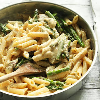Creamy Mushroom and Asparagus Pasta (GF).