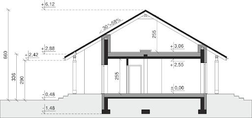Dom przy Bukowej 16 - Przekrój