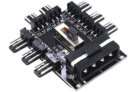 OEM 3-pins viftesplitter, 8 stk. 3-pins kontakter, 4-pins drevtilkobling