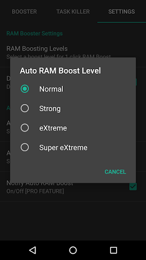 RAM Control eXtreme Pro app for Android screenshot