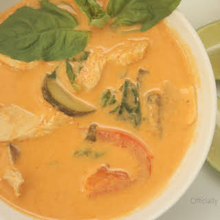 Thai Coconut Curry Soup with Chicken.