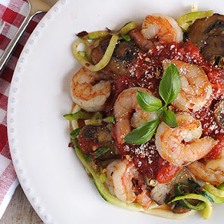 Shrimp and Mushroom Zucchini Pasta