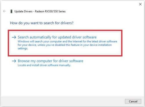 Select automatic update drivers