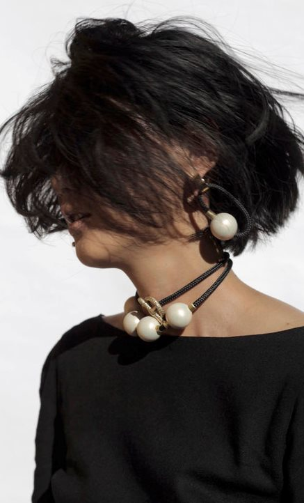 Pichulik's Japanese-inspired Fall/Winter 17 collection mixes freshwater pearls with rope and patinated brass.