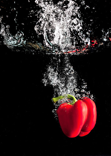 Cool Pepper by Russell Mander - Food & Drink Fruits & Vegetables ( red, bubbles, hot, water, splash )