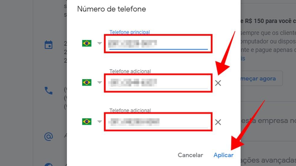 Altere os números de telefone da empresa no Google — Foto: Reprodução/Paulo Alves