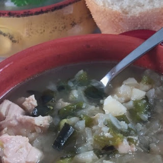 Healthy Chicken & Cauliflower Soup With Roasted Poblano Peppers