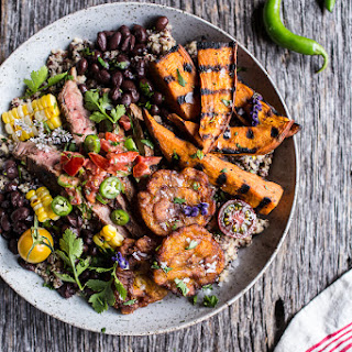 Brazilian Steak and Grilled Sweet Potato Fry Quinoa Bowl with Spicy Coconut Tomato Sauce.