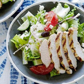 Greek Salad with Oregano Marinated Chicken.