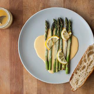 Roasted asparagus with Hollandaise sauce.