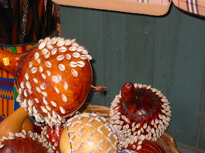 Photo: African Lagenaria rattles decorated with cowarie shells.