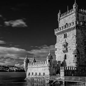 Belem Tower by Carlos Cardoso - Buildings & Architecture Public & Historical ( ir, b&w, belem, lisbon, portugal )