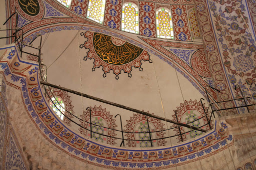 Blue-Mosque-interior-3.jpg - Centuries-old intricate patterns inside the Blue Mosque, or Sultan Ahmed Mosque, in Istanbul.