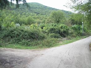 Photo: za ostatnimi zabudowaniami po lewej stronie asfalt skręca w prawo, w lewo zaczyna się Droga Polskich Saperów