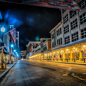 Early Morning Market Street by Nathaniel Jorge - City,  Street & Park  Markets & Shops ( sony, hdr, stars, va street, long exposure, night, roanoke )