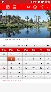 US Calendar 2018 - náhled