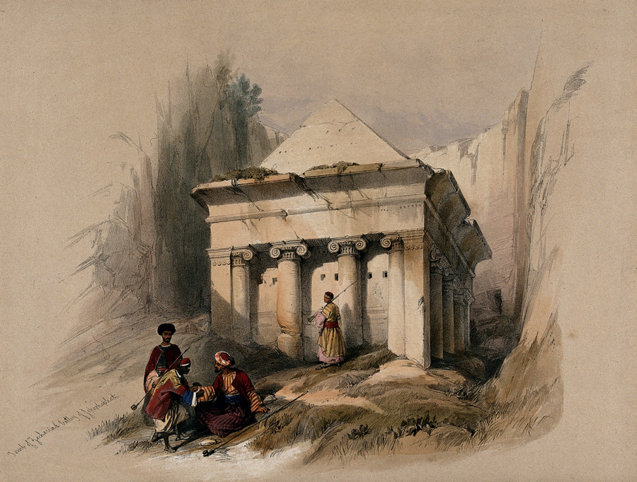 Гробница Захарии в Иосафатовой долине. Coloured lithograph by Louis Haghe after David Roberts, 1842.