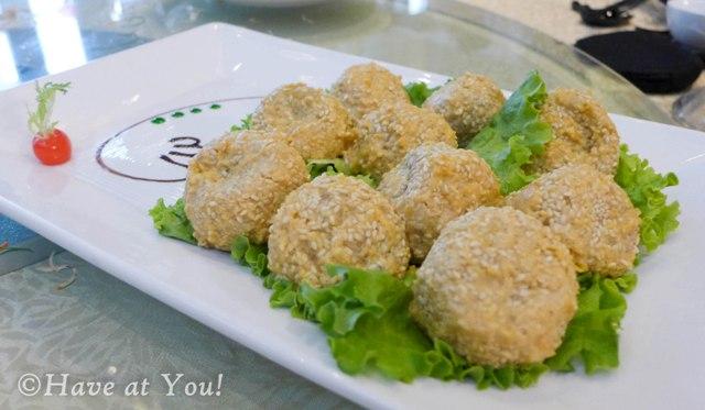 Golden Sesame Balls with mushrooms