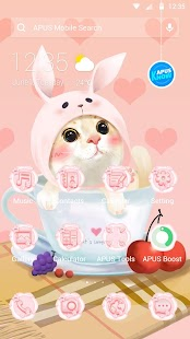Cute Pink Kitten-APUS Launcher free fashion theme - náhled